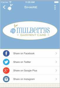 Mulberrys Mobile App Share Feature